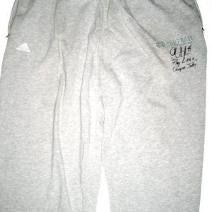 Asaph Schwapp Training Worn & Autographed Official Gray Notre Dame Fighting Irish Adidas Sweatpants - Inscribed Play Like A Champion!