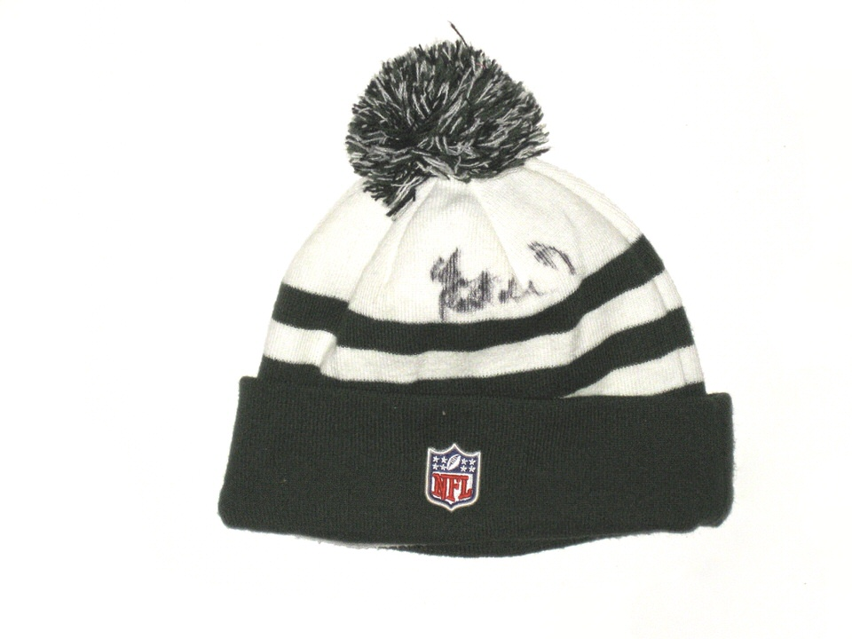 separation shoes a622b 45426 Chris Pantale Sideline Worn   Signed Official New York Jets New Era Beanie  ...