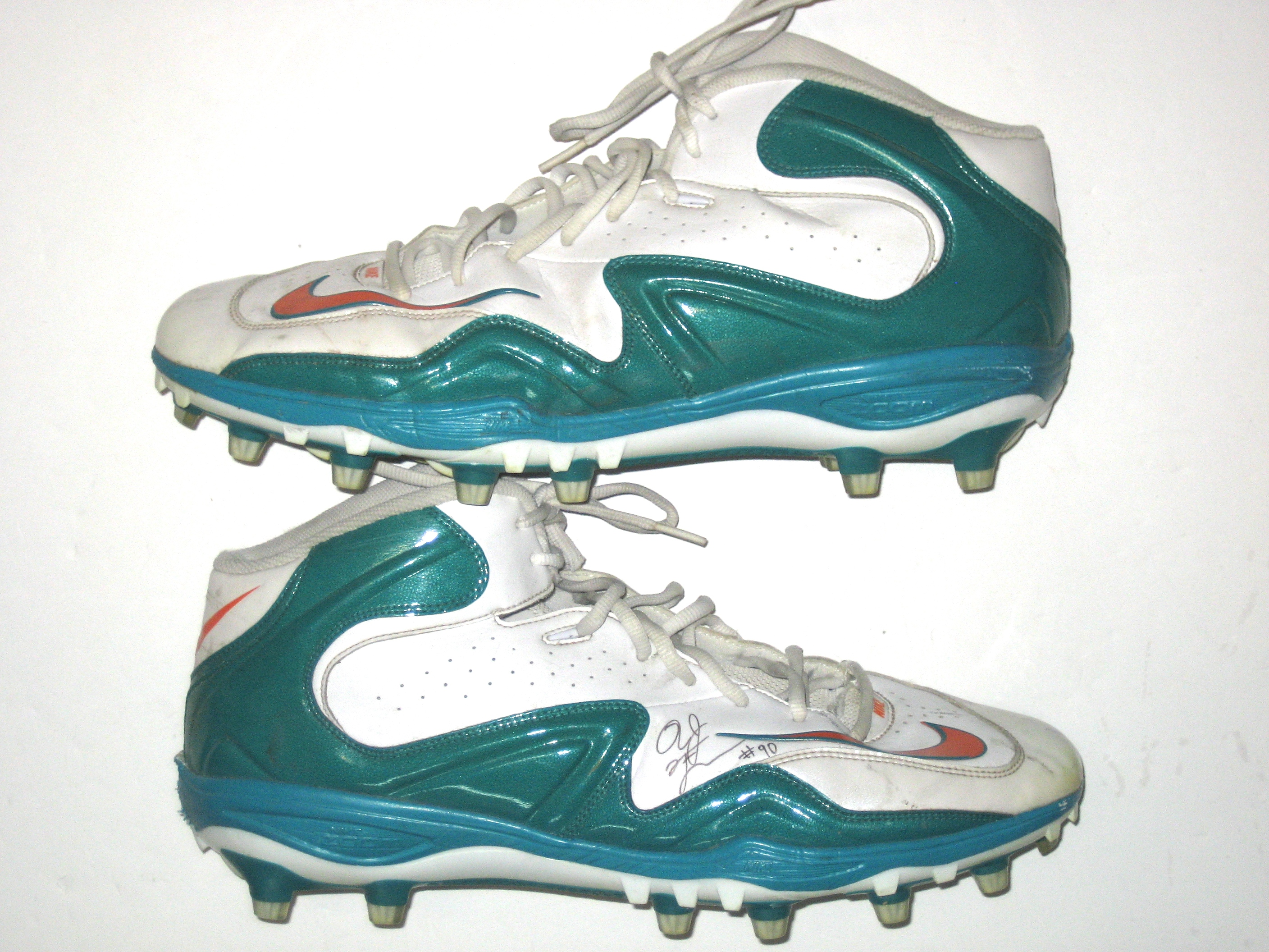 Nike jerseys for sale - AJ Francis Miami Dolphins Game Worn Cleats