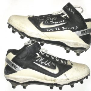 Nick Bellore New York Jets Game Used & Signed Nike Cleats - Worn Vs Jacksonville Jaguars in 32-3 Win, Mo Wilkerson 1st NFL Sack!