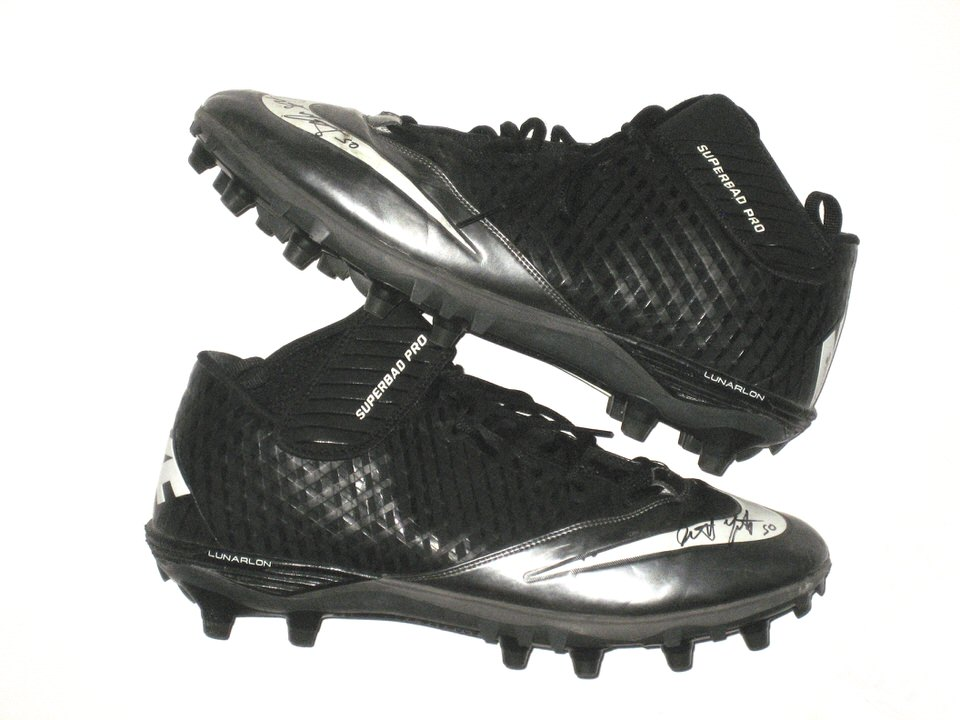 39f1c921b Garrett McIntyre New York Jets Game Worn   Signed Black   Silver Nike  Superbad Pro Cleats