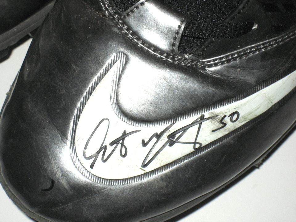 8be1a9f8b ... Garrett McIntyre New York Jets Game Worn   Signed Black   Silver Nike  Superbad Pro Cleats ...