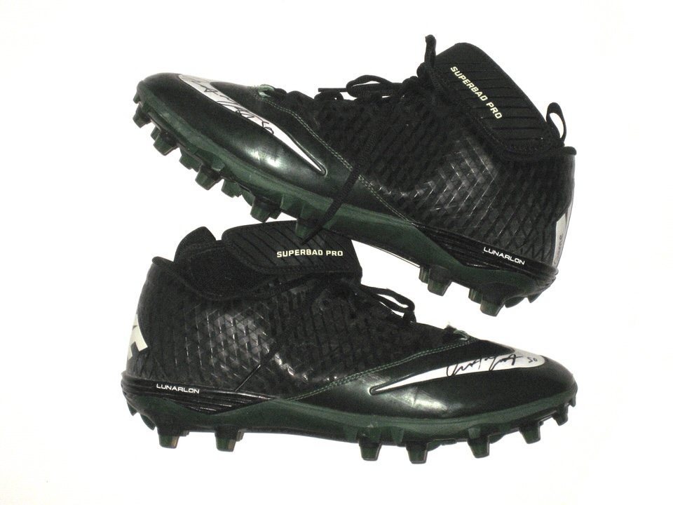 2d7264753 Garrett McIntyre New York Jets Game Worn   Signed Green   Black Nike  Superbad Pro Cleats