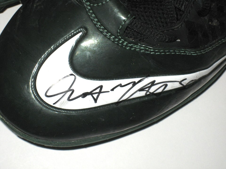 7b7e6ba3a ... Cleats Garrett McIntyre New York Jets Game Worn   Signed Green   Black  Nike Superbad Pro ...