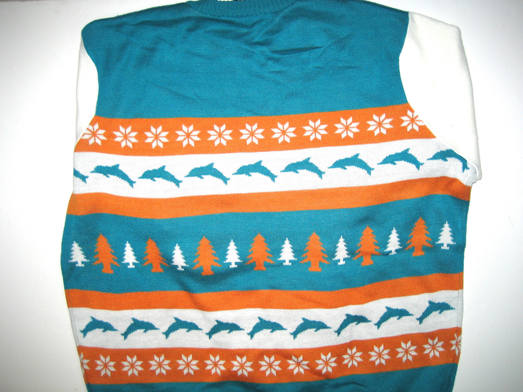 AJ Francis Miami Dolphins Christmas Party Ugly Sweater