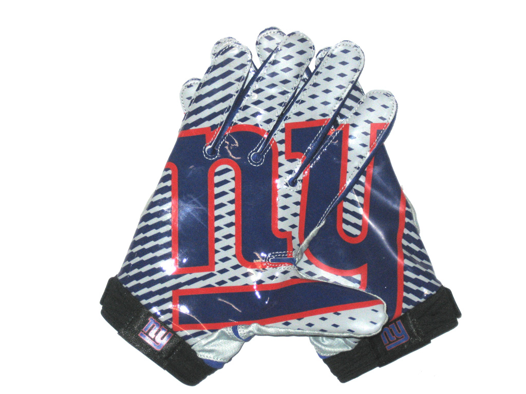 e3387bad Jay Bromley 2014 Rookie Game Worn & Signed New York Giants Team Logo Nike  Superbad Gloves