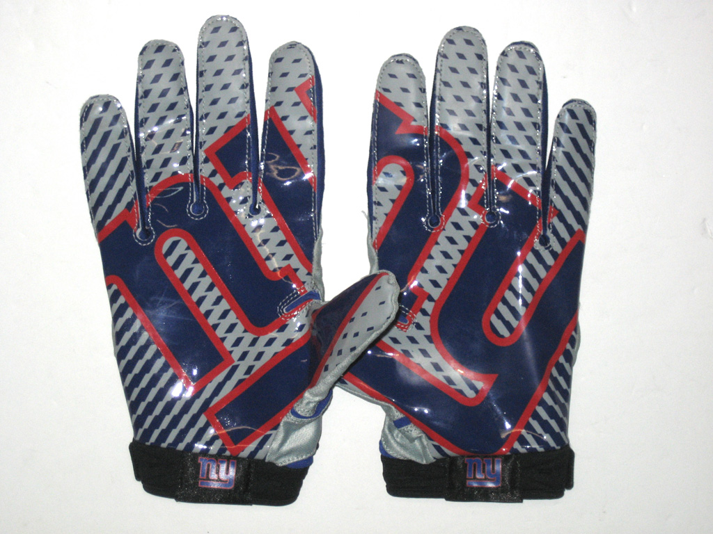 Jay Bromley 2014 Rookie Game Worn   Signed New York Giants Team Logo Nike  Superbad Gloves 2be390483