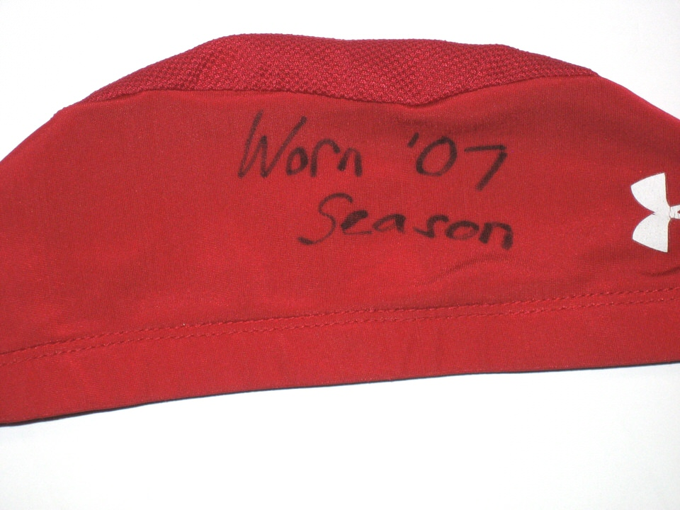 Dean Muhtadi Maryland Terrapins Game Worn Red Skull Cap