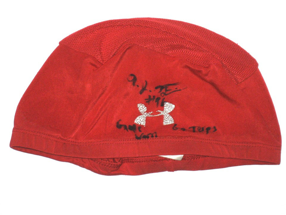 7e2acb085bb AJ Francis Maryland Terrapins Game Worn Red Skull Cap