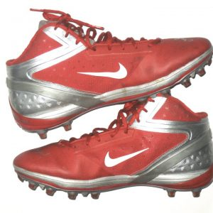 6a1a3d4a45e RJ Dill Rutgers Scarlet Knights Game Worn   Signed Red   Silver Nike Alpha  Cleats