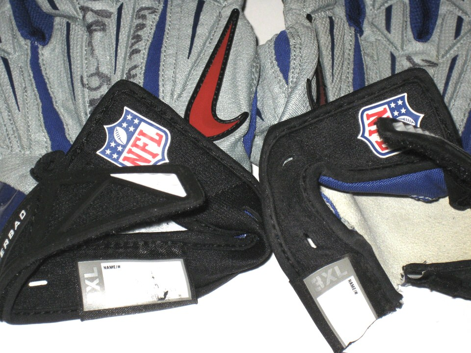 0fb4e174bc0 ... Jay Bromley 2014 Rookie Game Worn   Signed New York Giants Team Logo  Nike Superbad Gloves
