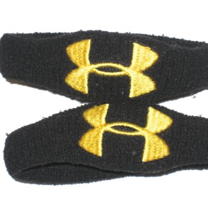 "AJ Francis Maryland Terrapins Game Worn ""2012 Senior Game"" Black & Yellow Under Armour Elbow Bands"