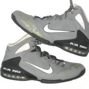 AJ Francis Maryland Terrapins Training Worn & Signed Gray, White & Black Nike Air Max Full Court Shoes