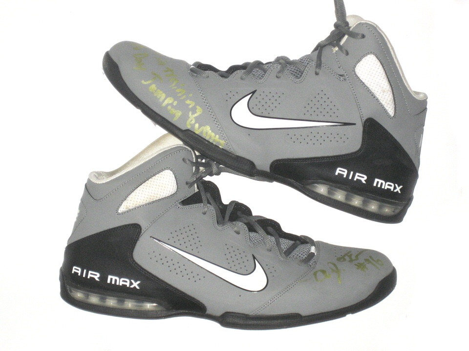 AJ Francis Maryland Terrapins Training Worn & Signed Gray, White & Black Nike Air Max Full Court 2 Shoes