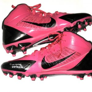 Orleans Darkwa New York Giants Game Worn   Signed Pink   Black Breast  Cancer Awareness Nike Cleats a102dfa4211