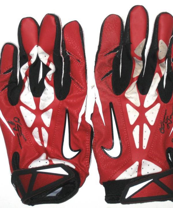 buy online 5c4fe 5de60 Orleans Darkwa New York Giants Game Worn & Signed Red & White Nike Gloves