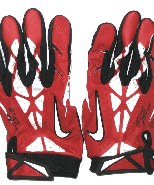 best cheap f7108 2e2c6 Orleans Darkwa New York Giants Practice Worn & Signed Red, White & Black  Nike Gloves