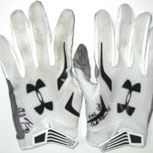 AJ Francis Miami Dolphins Practice Worn & Signed White & Black Under Armour Gloves