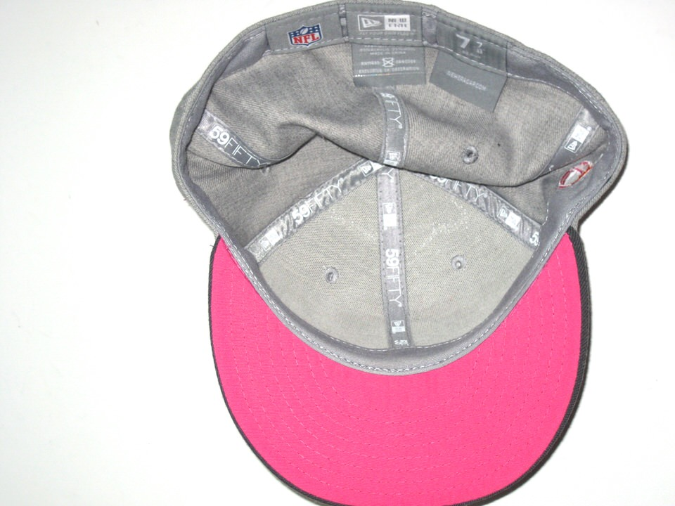 20735e25f ... AJ Francis Sideline Worn   Signed Miami Dolphins Breast Cancer  Awareness New Era 59Fifty ...