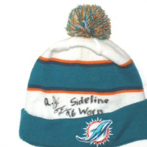 AJ Francis Sideline Worn & Signed Authentic Miami Dolphins On Field New Era Beanie Hat