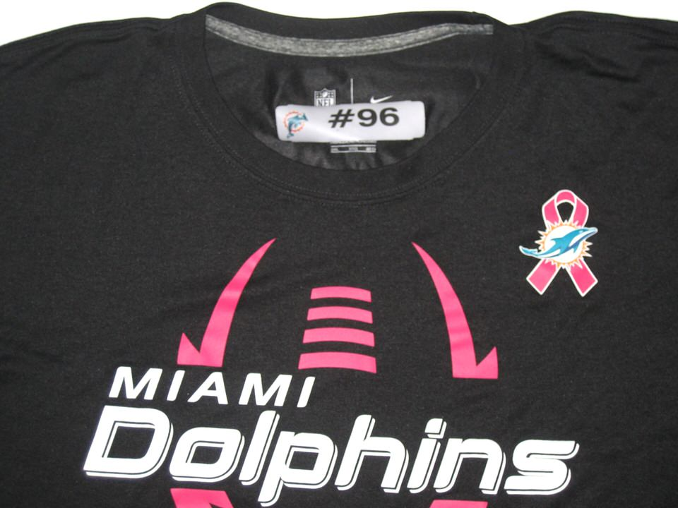 best service 3ecee d2e1d AJ Francis Player Issued Miami Dolphins #96 Breast Cancer Awareness Nike  3XL Shirt