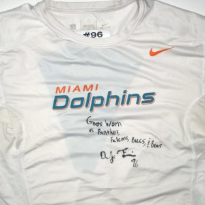 AJ Francis Game Worn & Signed Miami Dolphins #96 Nike Dri-Fit 4XL Shirt -Worn for 4 Games!!!)