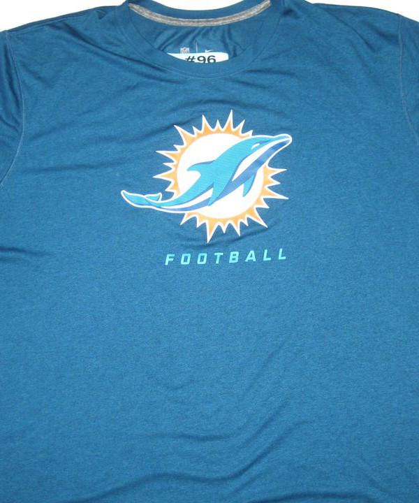 AJ Francis Training Worn Blue Miami Dolphins #96 Nike Dri Fit 3XL Shirt