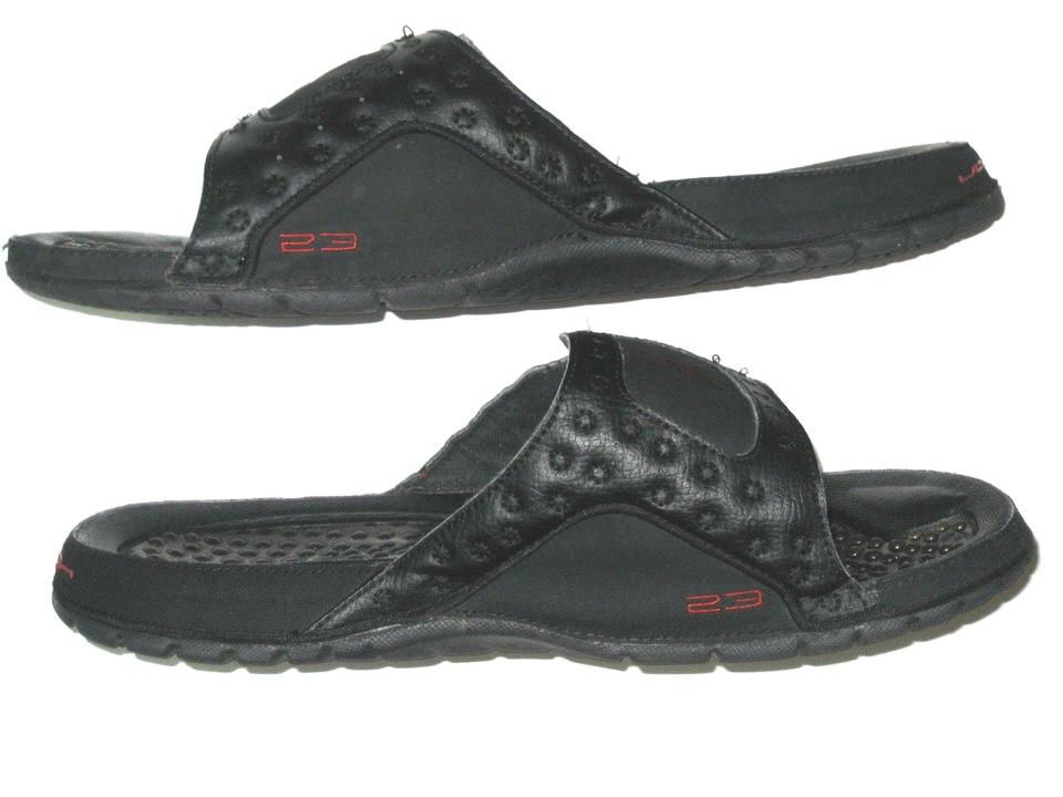 8bd8f992f48 Darrel Young Washington Redskins Locker Room Worn & Signed Nike Air Jordan  Black Hydro Sandals – Size 11