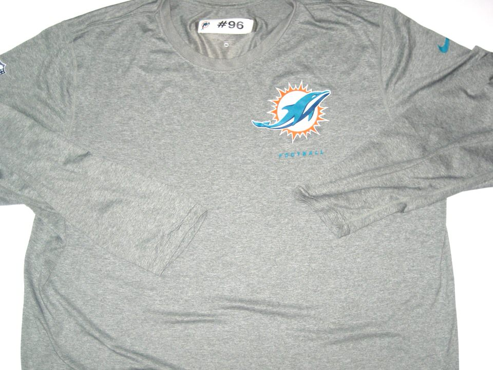 Miami Shirt Fit 96 Training Sleeve Worn Gray Nike Dolphins 3xl Aj Long Francis Dri 1nIOqwTg