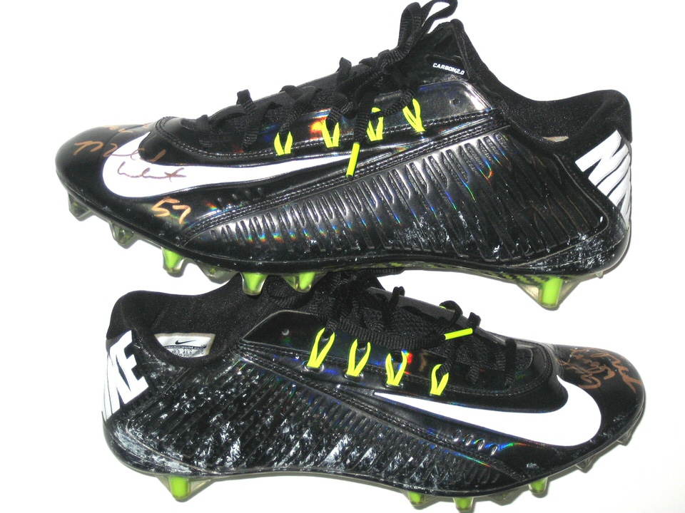 77a53b965a99 Michael Wilhoite San Francisco 49ers Game Worn Black   White Nike Vapor  Carbon Cleats