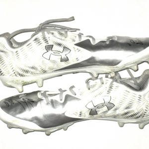 Adam Fuehne Southern Illinois Salukis Game Worn & Signed White & Silver Under Armour ClutchFit Cleats