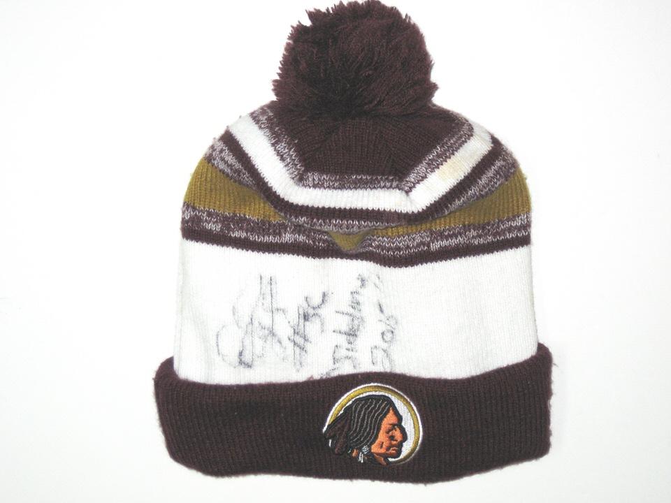 Darrel Young Sideline Worn   Autographed Washington Redskins New Era Beanie  Hat 54f0629a6