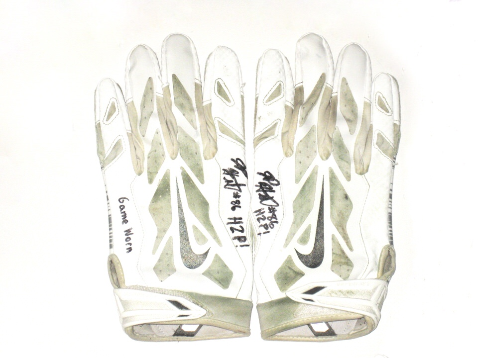 new concept 43563 a1b61 JP Holtz Pittsburgh Panthers Game Worn & Signed White & Silver Nike Gloves  - Great Use!!!