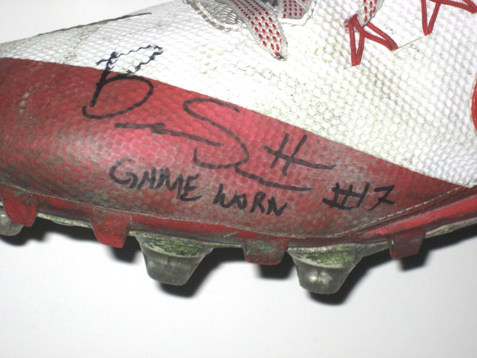 Brennan Scarlett Stanford Cardinal Game Worn & Signed White & Red Nike Alpha Cleats