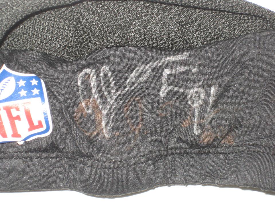 251e5e9eb AJ Francis Miami Dolphins Training Camp Worn   Signed Black Skull Cap AJ ...
