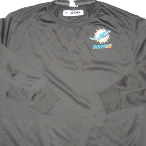 AJ Francis Player Issued Gray Miami Dolphins #96 Nike Therma-FIT Sweatshirt