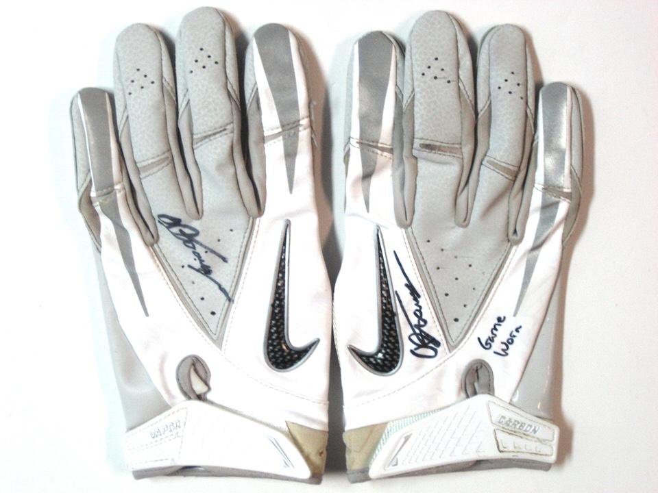AJ Tarpley Stanford Cardinal Game Worn White   Silver Nike Vapor Carbon  Gloves aad26c3d86c0