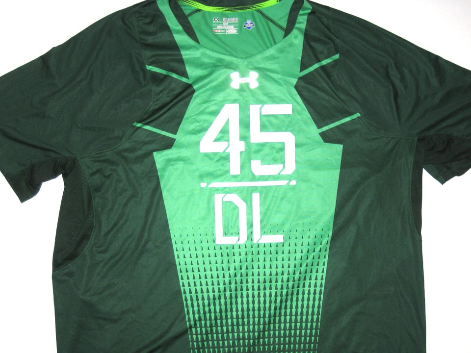Deon simon 2015 nfl combine worn official green authentic for Under armour nfl shirts