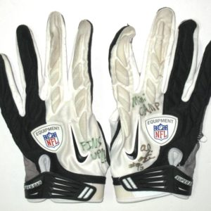 AJ Francis Miami Dolphins 2014 Mini-Camp Worn & Signed White, Gray & Black Nike Super Bad Gloves