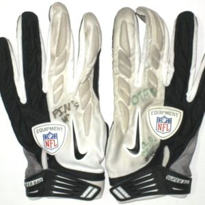 AJ Francis Miami Dolphins 2014 OTAs Worn & Autographed White, Gray & Black Nike Superbad Gloves