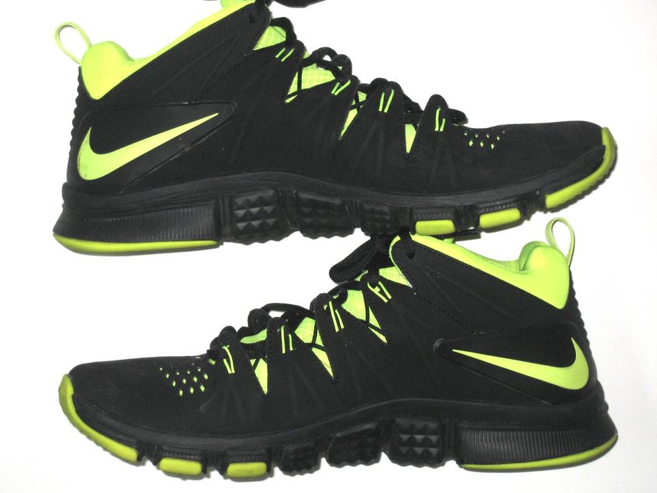 9ffaf725d Darien Harris Michigan State Spartans Training Worn   Autographed Black   Neon  Green Nike Sneakers Darien ...