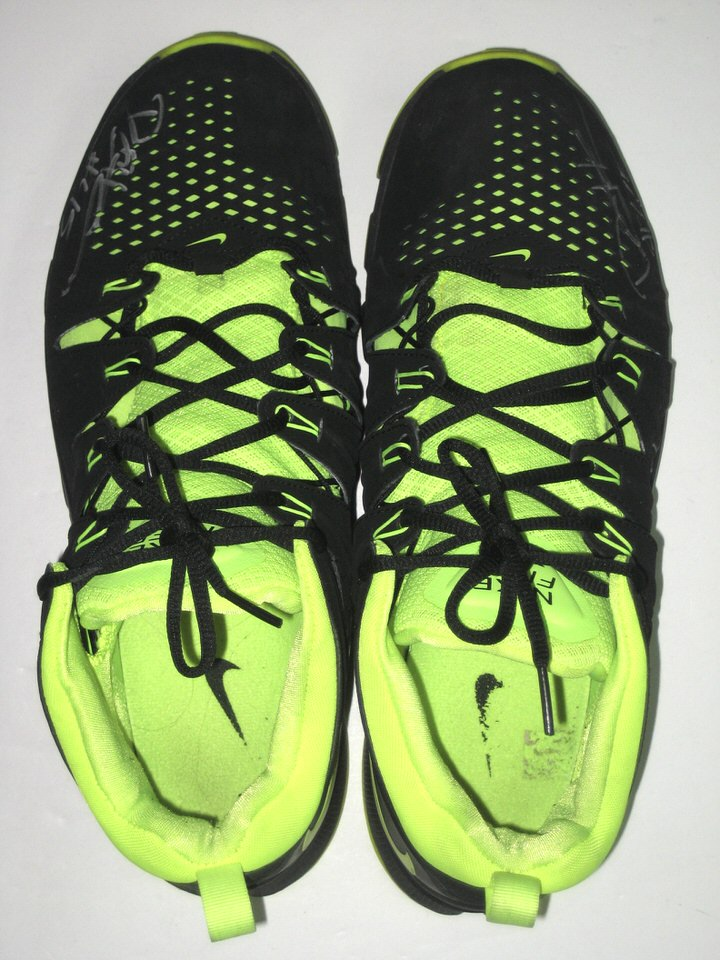 45e757ba5 ... Sneakers Darien Harris Michigan State Spartans Training Worn   Signed  Black   Neon Green Nike ...