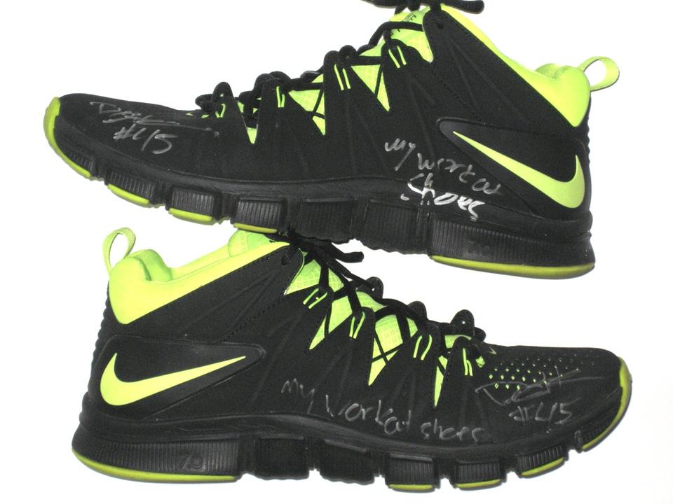 03e47608f Darien Harris Michigan State Spartans Training Worn   Autographed Black   Neon  Green Nike Sneakers