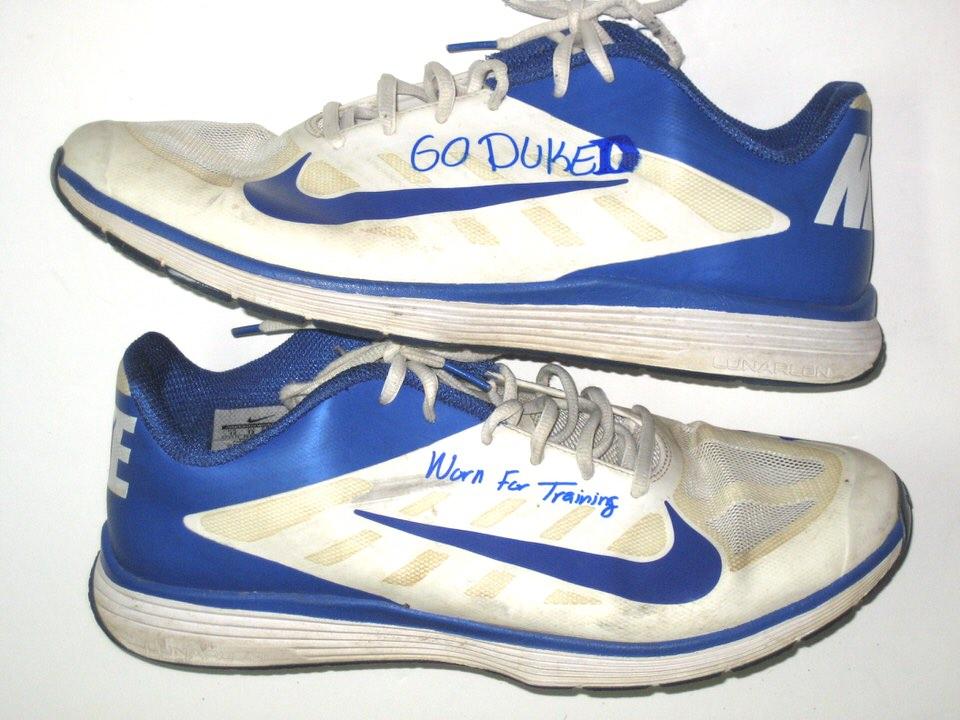 f234b2ffd4e0 David Reeves Duke Blue Devils Training Worn   Signed White   Blue Nike  Vapor TR Sneakers