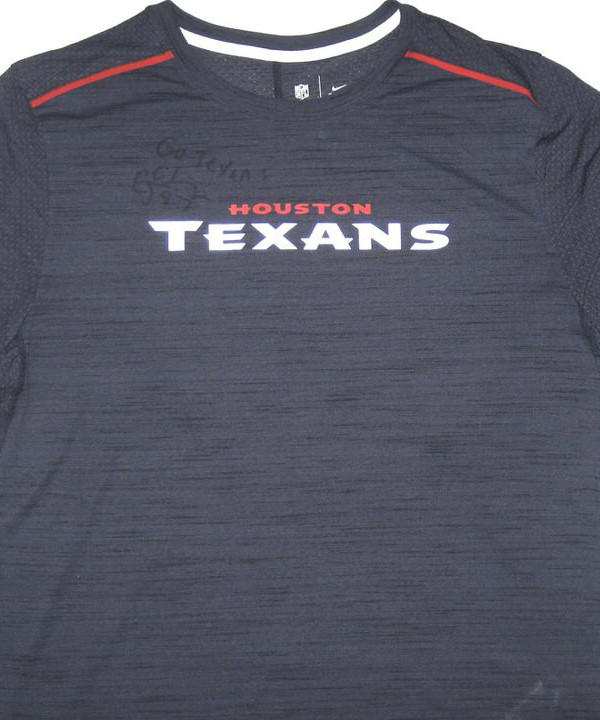 25e663ee CJ Fiedorowicz 2016 Training Worn & Signed Houston Texans Nike Dri-Fit XL  Shirt