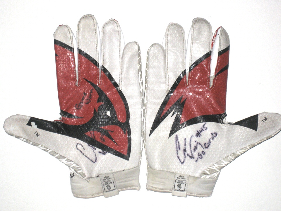 Cole Wick Game Worn Amp Signed Rare Incarnate Word Cardinals Team Logo Adidas Adizero Gloves Big