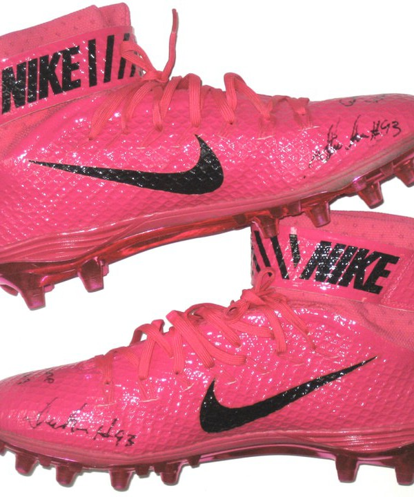 new concept e6727 3cbe9 Deon Simon 2016 New York Jets Game Worn  Signed Pink Breast Cancer  Awareness Nike Lunarbeast