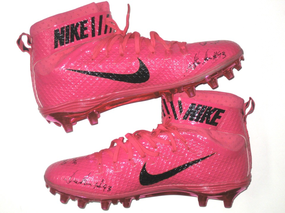 b564c38ebfc Deon Simon 2016 New York Jets Game Worn   Signed Pink Breast Cancer  Awareness Nike Lunarbeast