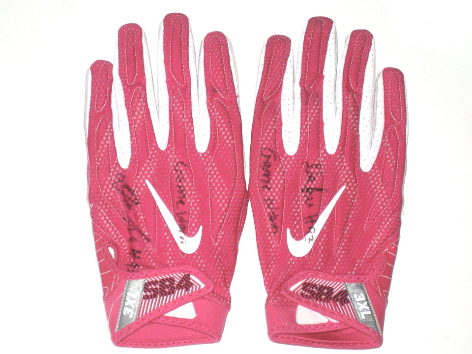 c2ba501a2a0 Deon Simon New York Jets Game Used   Signed Pink   White Breast Cancer  Awareness Nike