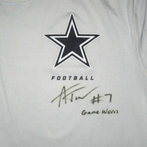 Alex Tanney Game Worn & Signed Dallas Cowboys Football Nike Dri-Fit XL Shirt